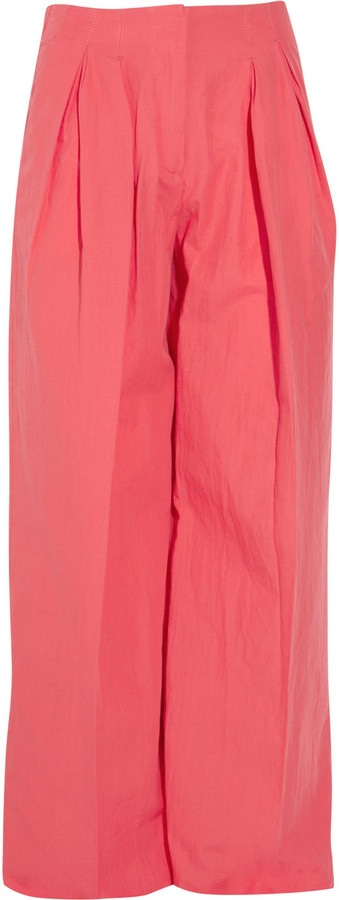 See by Chloe Cotton and silk-blend wide-leg pants