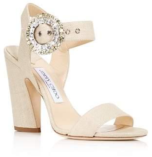 Jimmy Choo Women's Mischa 100 Raffia & Leather High-Heel Sandals