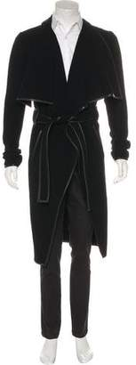 Gareth Pugh Leather-Trimmed Virgin Wool Coat