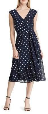 Lauren Ralph Lauren Belted Polka-Dot Fit--Flare Dress