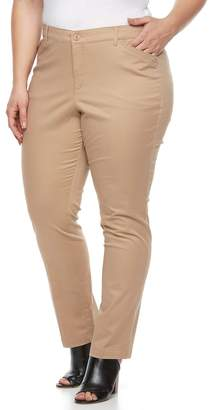 Gloria Vanderbilt Plus Size Anita Twill Straight-Leg Pants