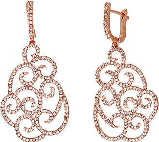 JCPenney FINE JEWELRY Cubic Zirconia 18K Rose Gold Over Brass Filigree Drop Earrings