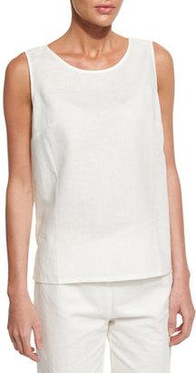 Neiman Marcus Sleeveless Linen-Blend Shell $95 thestylecure.com