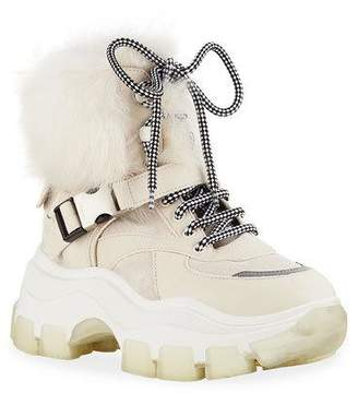 Prada Shearling-Lined Leather Lug-Sole Booties