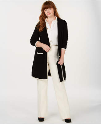Charter Club Plus Size Cashmere Border-Stripe Cardigan, Created for Macy's