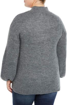 Rachel Roy Shayla Balloon-Sleeve Ribbed Sweater, Plus Size