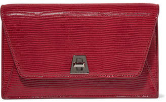 Akris Anouk Envelope Lizard-effect Leather Clutch - Claret
