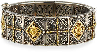 Konstantino Ornate Hinged Cuff Bracelet w\/ 18k Gold