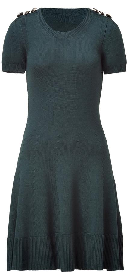 McQ by Alexander McQueen Military Green Virgin Wool Knit Dress