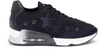 Ash 'Lucky Star' appliqué mixed knit sneakers