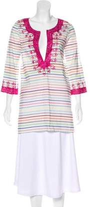 Calypso Embroidered Striped Tunic