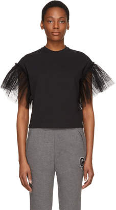 MSGM SSENSE Exclusive Black Tulle Sleeves T-Shirt