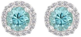 Premier Gemstone & 1/8cttw Halo Earrings, 14K White Gold