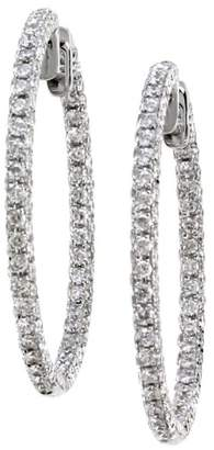 18K White Gold Inside-Outside 1.62ctw. Pave Diamond Hoop Earrings