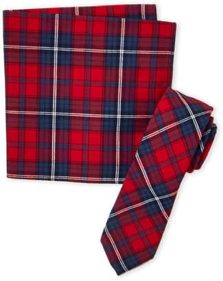 Original Penguin Red Gideon Plaid Tie & Pocket Square Set