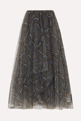 Brunello Cucinelli Plaid Tulle Midi Skirt - Gray