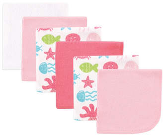 Baby Vision Luvable Friends Washcloths, 6-Pack, Pink Sea Animals, One Size