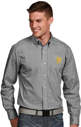 Antigua Men's Pittsburgh Pirates Associate Plaid Button-Down Shirt
