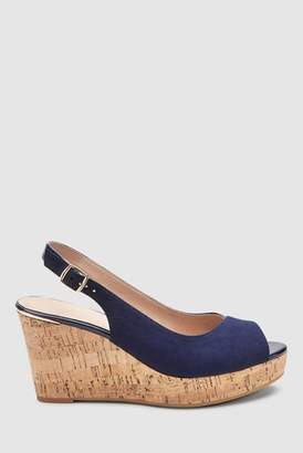 e20c8516ac37 Next Womens Navy Slingback Cork Wedges