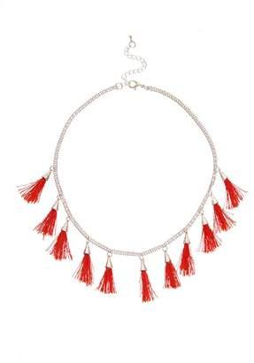 Quiz Red Tassel Short Necklace