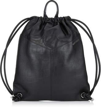 Jimmy Choo MARLON Black Croc Embossed Satin Leather Drawstring Backpack