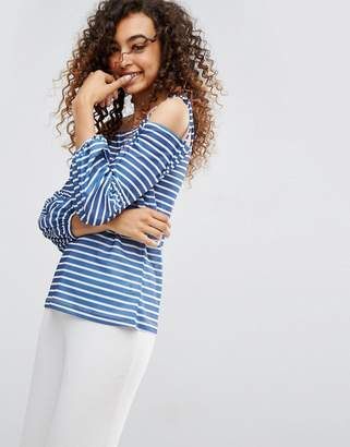 Asos Design Top in Stripe with Off Shoulder and Pretty Bell Sleeve