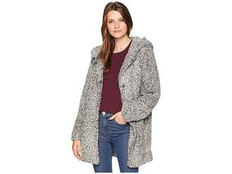 True Grit Dylan by Melange Teddy Coat with Hood and Heather Knit Lining