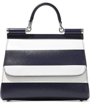 Dolce & Gabbana Sicily Striped Textured-Leather Shoulder Bag