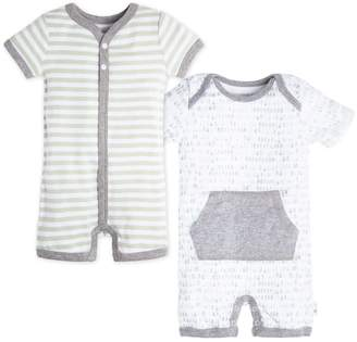 Burt's Bees Baby 2 Pack Dew Drop Striped Organic Rompers