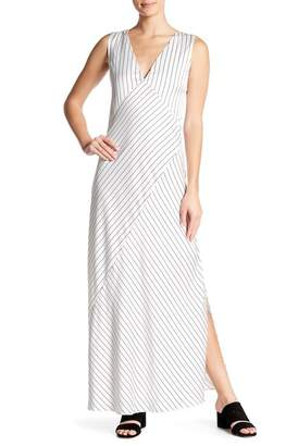 Theory Relaxed Slip Crushed Satin Striped Maxi Dress