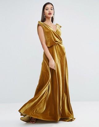 ASOS RED CARPET Velvet Drape Maxi Dress $181 thestylecure.com