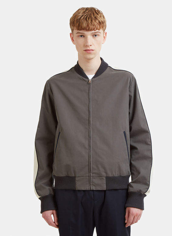 Embroidered Bomber Jacket in Grey