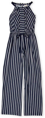 Monteau Girl (Girls 7-16) Striped Jersey Jumpsuit