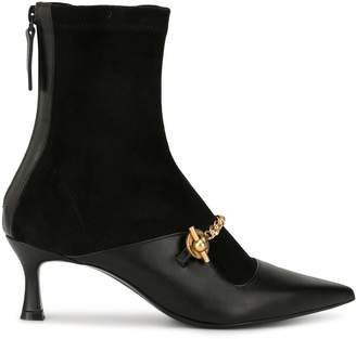 Salondeju pointed chain ankle boots