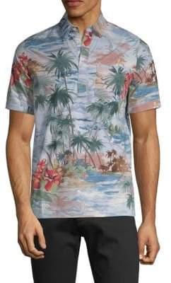 Valentino Graphic Short-Sleeve Cotton Button-Down Shirt