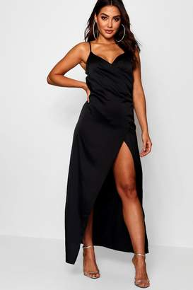 boohoo Satin Wrap Detail Maxi Dress