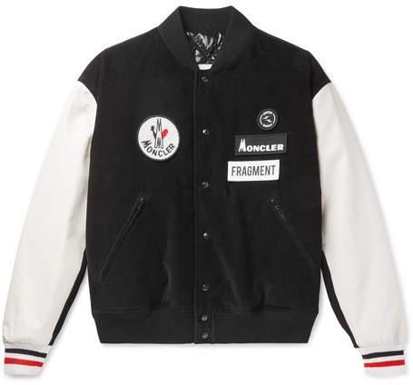 Moncler Genius 7 Moncler Fragment Sven Appliquéd Corduroy And Leather Down Bomber Jacket