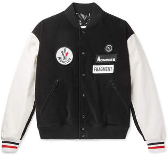 Moncler Genius 7 Fragment Sven Appliquéd Corduroy And Leather Down Bomber Jacket