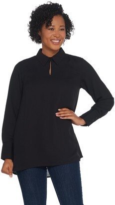 Joan Rivers Classics Collection Joan Rivers Flowy Long Sleeve Blouse with Button Neckline