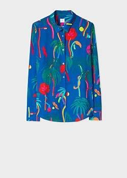 Women's Cobalt Blue 'Urban Jungle' Print Shirt