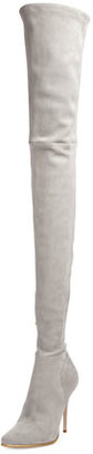 Balmain Suede Thigh-High 110mm Boot, Gray $2,890 thestylecure.com