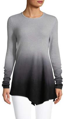 Lord & Taylor Kiss Dip-Dye Asymmetric Hem Cashmere Sweater