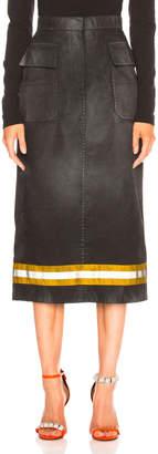 Calvin Klein Coated Cotton Gabardine Midi Skirt