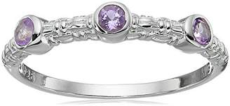 Sterling Silver Textured Amethyst Mini Ring