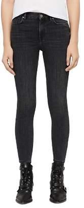 AllSaints Grace Zip-Hem Cropped Skinny Jeans in Washed Black