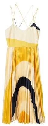 MANGO Printed pleated dress