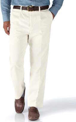 Charles Tyrwhitt White Classic Fit Single Pleat Washed Cotton Chino Pants Size W36 L30