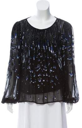 Temperley London Sequin Long Sleeve Blouse