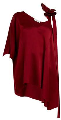 Valentino Asymmetric Ruffled Shoulder Top - Womens - Burgundy
