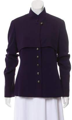 Donna Karan Stand Collar Button-Up Jacket